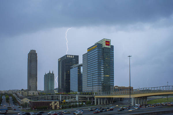 Georgia Power Company Photograph - Lighting Up Atlantic Station 2 by Reid Callaway