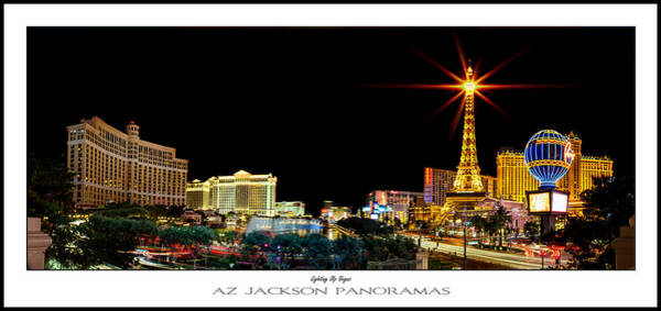 Flamingos Wall Art - Photograph - Lighting Up Vegas Poster Print by Az Jackson