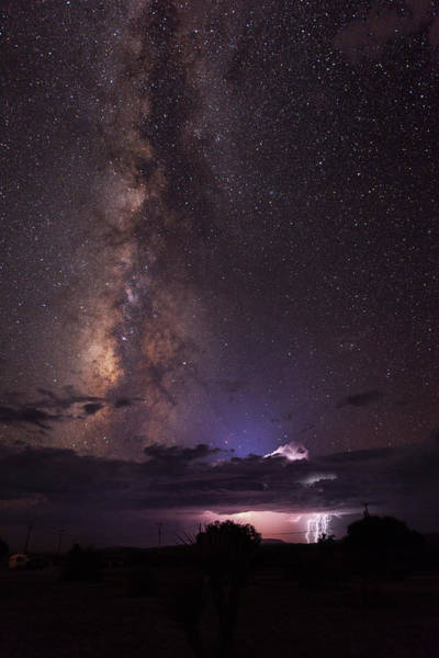 Photograph - Lightning And Milky Way by Dennis Sprinkle