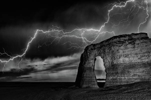 Photograph - Lightning At Monument Rocks by Darren White