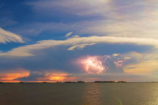 Photograph - Lightning At Sunset With Star Trails by James BO Insogna