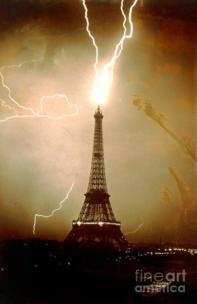Photograph - Lightning Bolts Striking The Eiffel Tower by JL Charmet