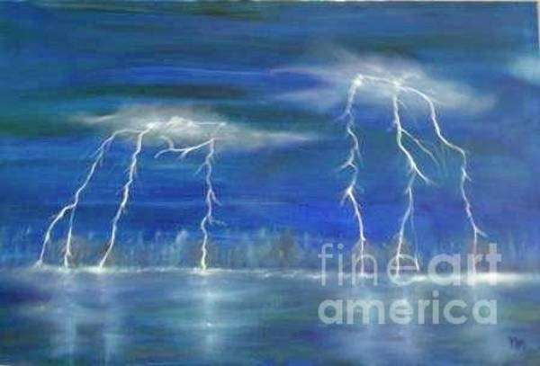 Wall Art - Painting - Lightning By The Lake Original Oil Painting by Anthony Morretta