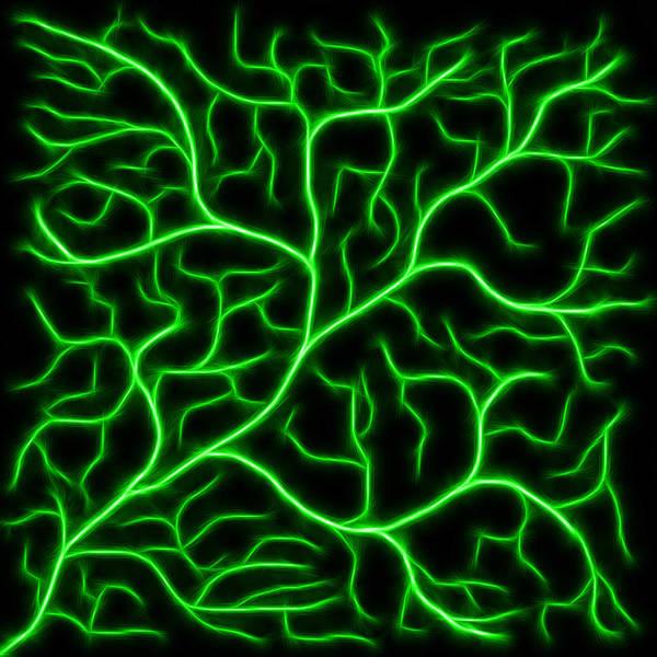 Digital Art - Lightning - Green by Shane Bechler