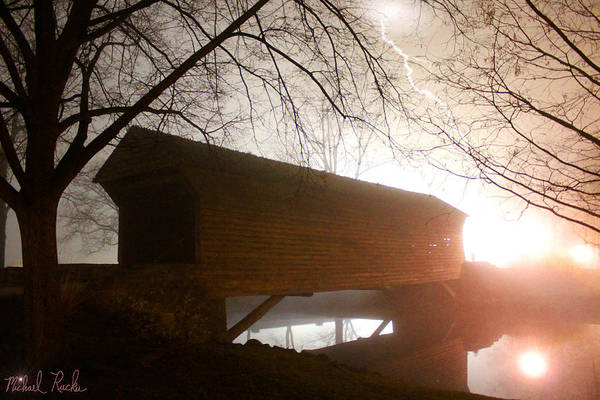 Wall Art - Photograph - Lightning Old Covered Bridge by Michael Rucker