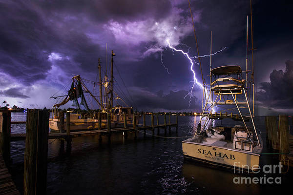 Wall Art - Photograph - Lightning On The Sea Hab by Jon Neidert