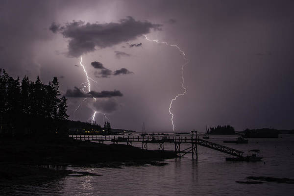 Lightning Over Boothbay Harbor Art Print