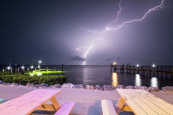 Photograph - Lightning Over Buttonwood Sound by M C Hood