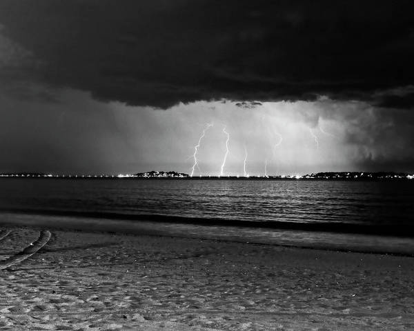 Photograph - Lightning Over Nahant From Revere Beach Revere Ma Black And White by Toby McGuire