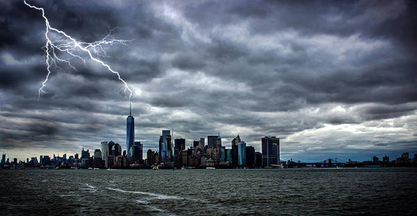 Lady Liberty Photograph - Lightning Over New York by Martin Newman