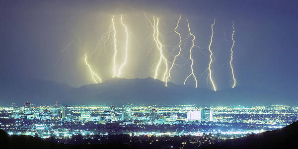Photograph - Lightning Over Phoenix Arizona Panorama by James BO Insogna