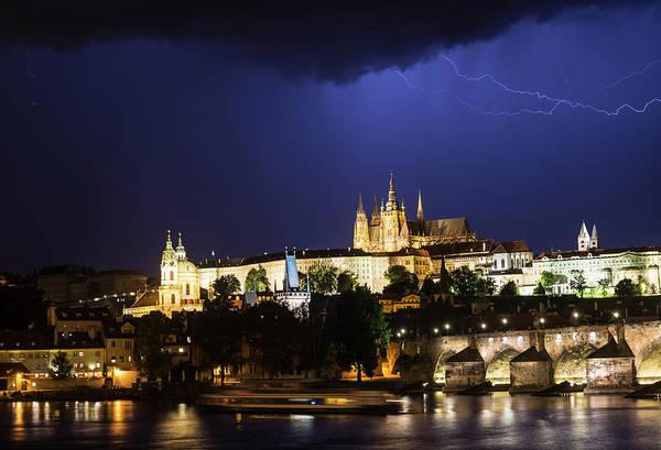 Photograph - Lightning Over Prague Castle by Alex Lapidus