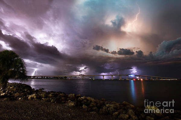 Wall Art - Photograph - Lightning Over The Sanibel Bridge by Jon Neidert