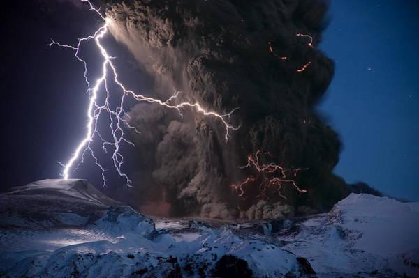 Natural Phenomenon Photograph - Lightning Pierces The Erupting by Sigurdur H Stefnisson