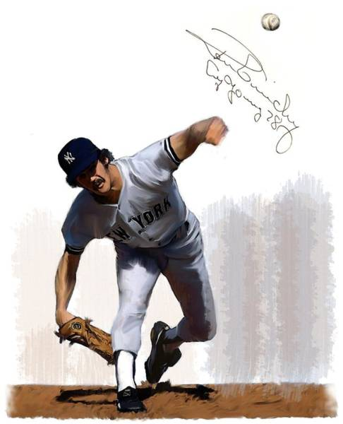 Painting - Lightning Strikes Ron Guidry by Iconic Images Art Gallery David Pucciarelli