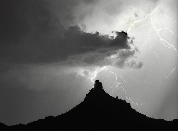 Photograph - Lightning Striking Pinnacle Peak Arizona by James BO Insogna