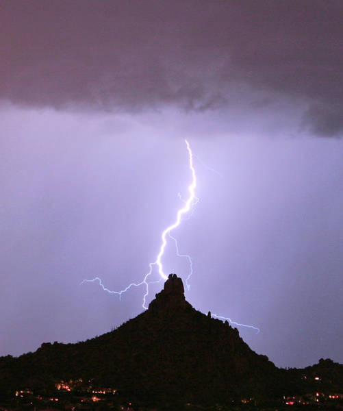 Photograph - Lightning Striking Pinnacle Peak Scottsdale Az by James BO Insogna