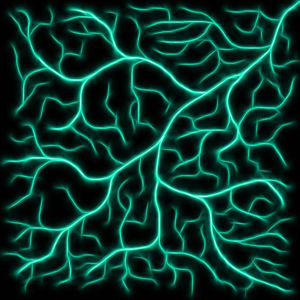 Digital Art - Lightning - Teal by Shane Bechler