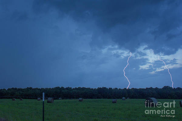 Photograph - Lightning Twins Dusk Thunderstorm Lightning Weather Art by Reid Callaway