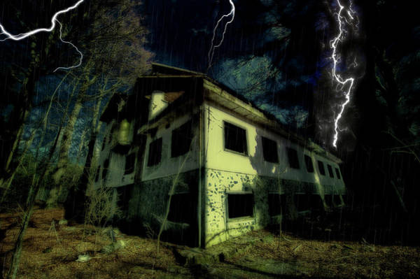 Photograph - Lightnings On Abandoned Hotel On Liguria Mountains High Way - Fulmini Su Hotel Abbandonato Sull'av by Enrico Pelos