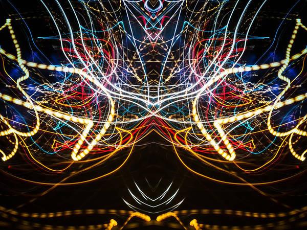 Photograph - Lightpainting Symmetry Wall Art Print Photograph 1 by John Williams