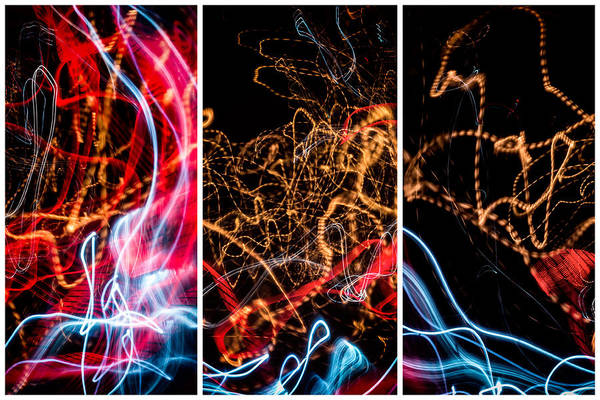 Photograph - Lightpainting Triptych Wall Art Print Photograph 5 by John Williams