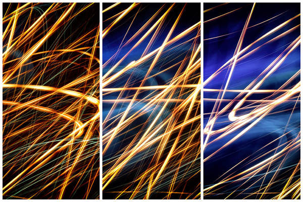 Photograph - Lightpainting Triptych Wall Art Print Photograph 6 by John Williams