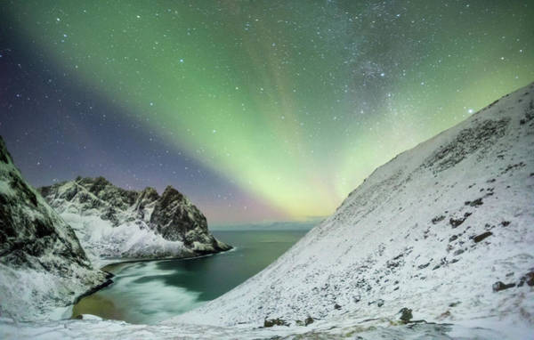 Photograph - Lights Above Kvalvika by Alex Conu