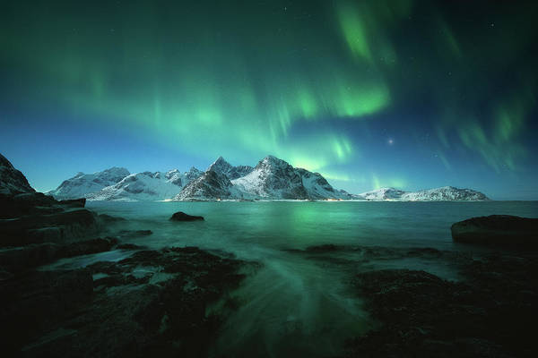 Light Blue Photograph - Lights Above Lofoten by Tor-Ivar Naess