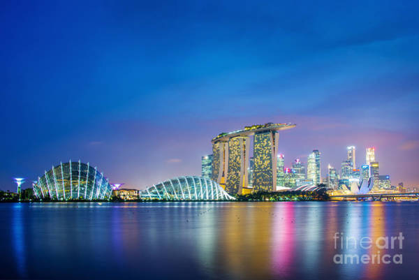 Blue Hour Photograph - Lights Of Singapore by Delphimages Photo Creations