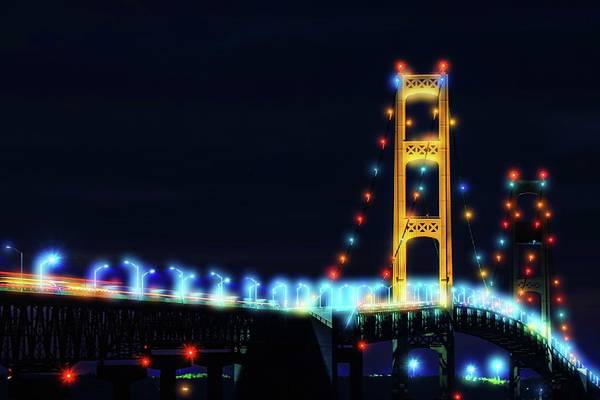 St Ignace Wall Art - Photograph - Lights On Mackinac Bridge At Night by Dan Sproul