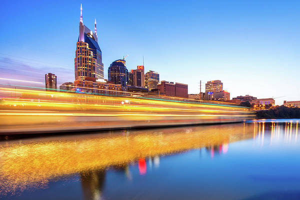 Photograph - Lights On The Cumberland River - Nashville Tennessee Skyline  by Gregory Ballos