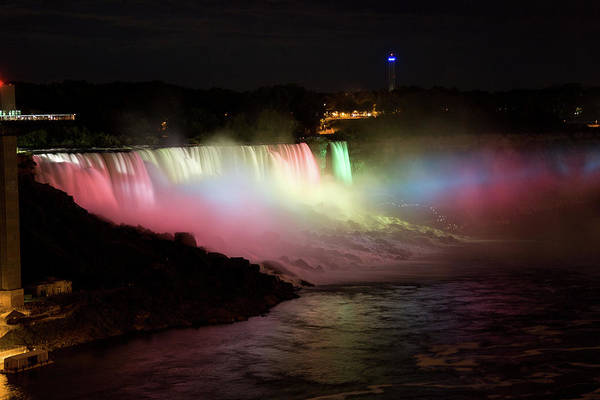 Photograph - Lights Shining On The American Niagara Falls by Jeff Folger