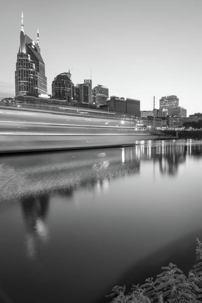 Photograph - Lights Through The Nashville Skyline In Black And White by Gregory Ballos