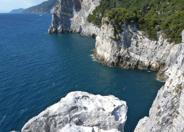 Photograph - Liguria's Blue Sea And Cliff by Laura Greco