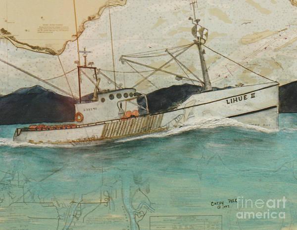 Astoria Wall Art - Painting - Lihue II Fishing Boat Nautical Chart Map Oregon by Cathy Peek