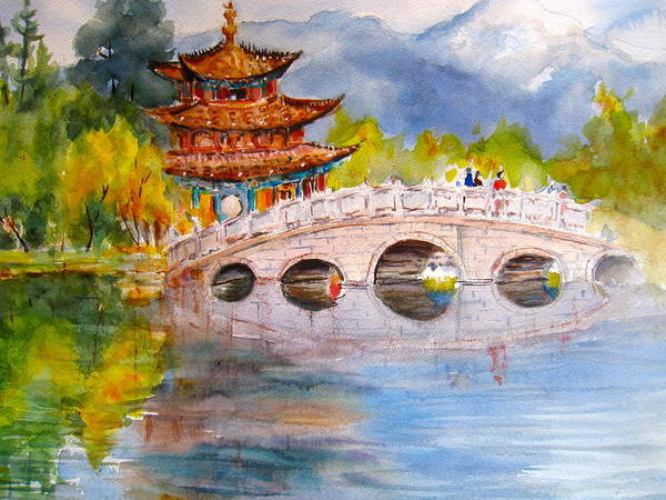 China Town Painting - Lijian Old Town by Myra Evans