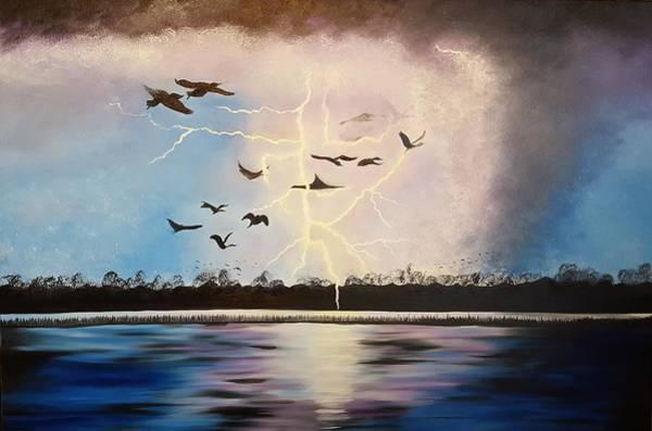 Bird Strike Wall Art - Painting - Like Lightning by Roxane Gabriel