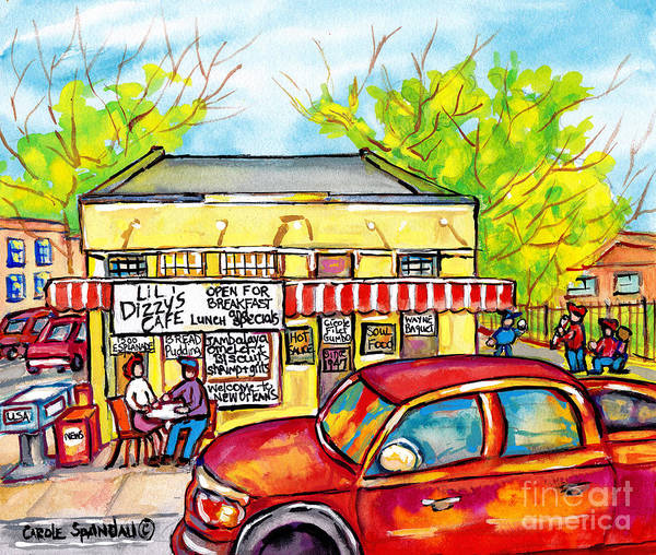 Painting - Lil Dizzy's Cafe New Orleans Watercolor Painting American Streetscene Baseball Kids Red Ford Pickup  by Carole Spandau