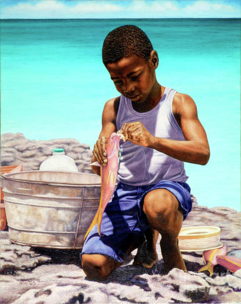 Painting - Lil Fisherman by Nicole Minnis