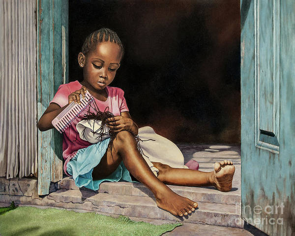 Painting - Lil' Hair Braider by Nicole Minnis