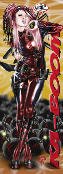 Painting - Lil Miss Deadpool by Pete Tapang