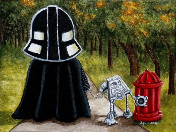 Wall Art - Painting - Lil Vader Walking His At At by Al  Molina