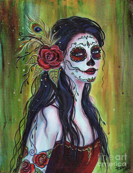 Dead Wall Art - Painting - Lila Day Of The Dead Art by Renee Lavoie