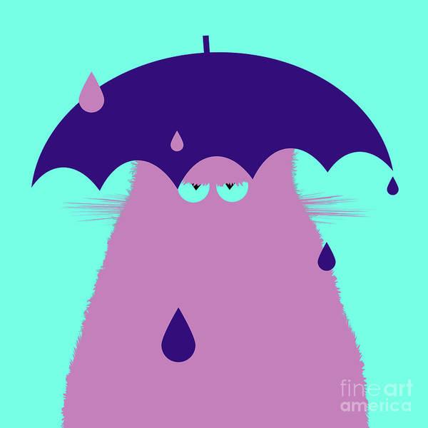 Purple Rain Digital Art - Lilac Cat With Umbrella by Zaira Dzhaubaeva