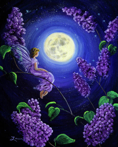 Wall Art - Painting - Lilac Fairy Bathed In Moonlight by Laura Iverson