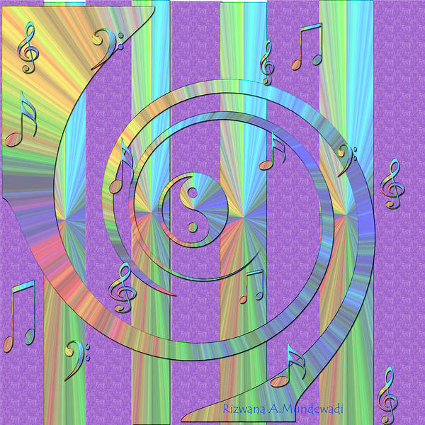Wall Art - Digital Art - Lilac Fantasy Music Of Yin Yangs by Rizwana A Mundewadi