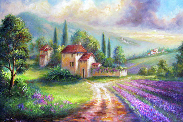 Gina Femrite Wall Art - Painting - Lilac Fields In The Italian Countryside   by Regina Femrite