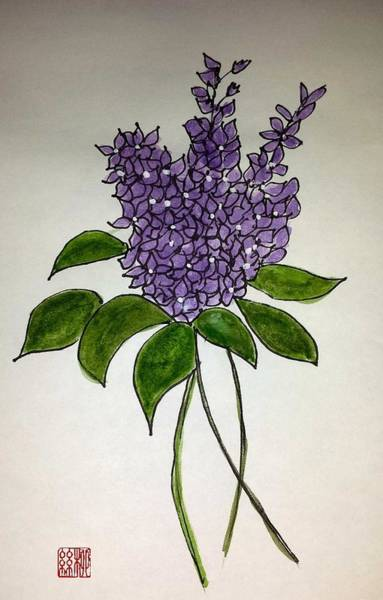 Painting - Lilac Posy by Margaret Welsh Willowsilk