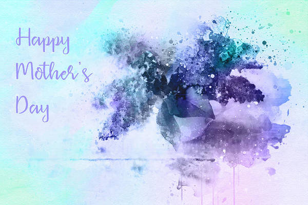 Wall Art - Digital Art - Lilac Watercolor Mother's Day Card by SharaLee Art
